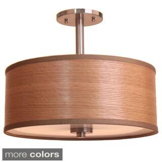 3-light 15-inch Single Shade Satin Nickel Semi-flush Mount