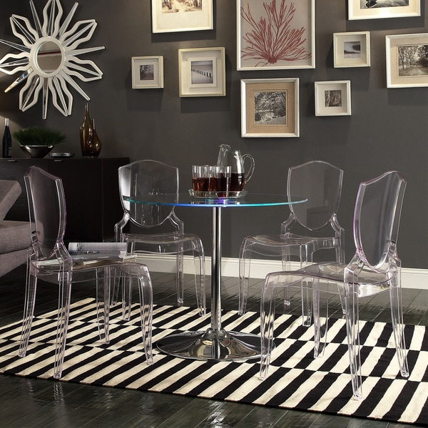 Charming Lorin LED Round Crystal Clear 5 Piece Dining Set By INSPIRE Q Modern