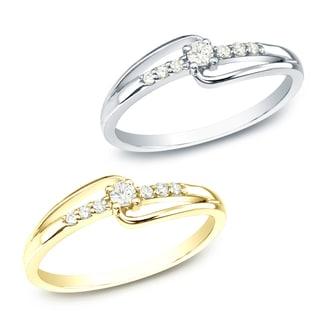 Auriya 10k White or Yellow Gold 1/10ct TDW Round Diamond Promise Ring (J-K, I1-I2)