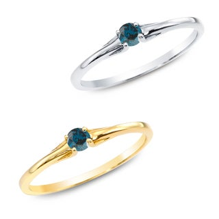 Auriya 10k Gold 1/10ct TDW Blue Diamond Solitaire Promise Ring
