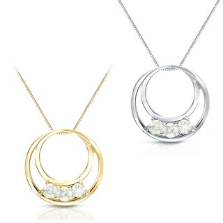 Auriya 14k White or Yellow Gold 1/2ct TDW 3-stone Circle Diamond Necklace (J-K, I1-I2)