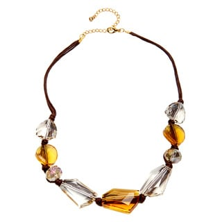 Alexa Starr Goldtone and Brown Cord Faceted Glass Bead Necklace