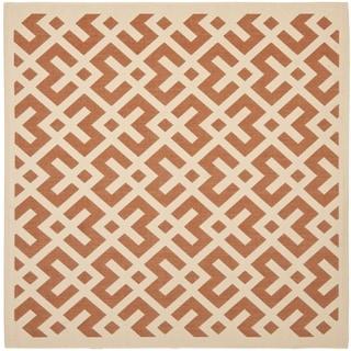 Safavieh Courtyard Contemporary Terracotta/ Bone Indoor/ Outdoor Rug (5'3 Square)