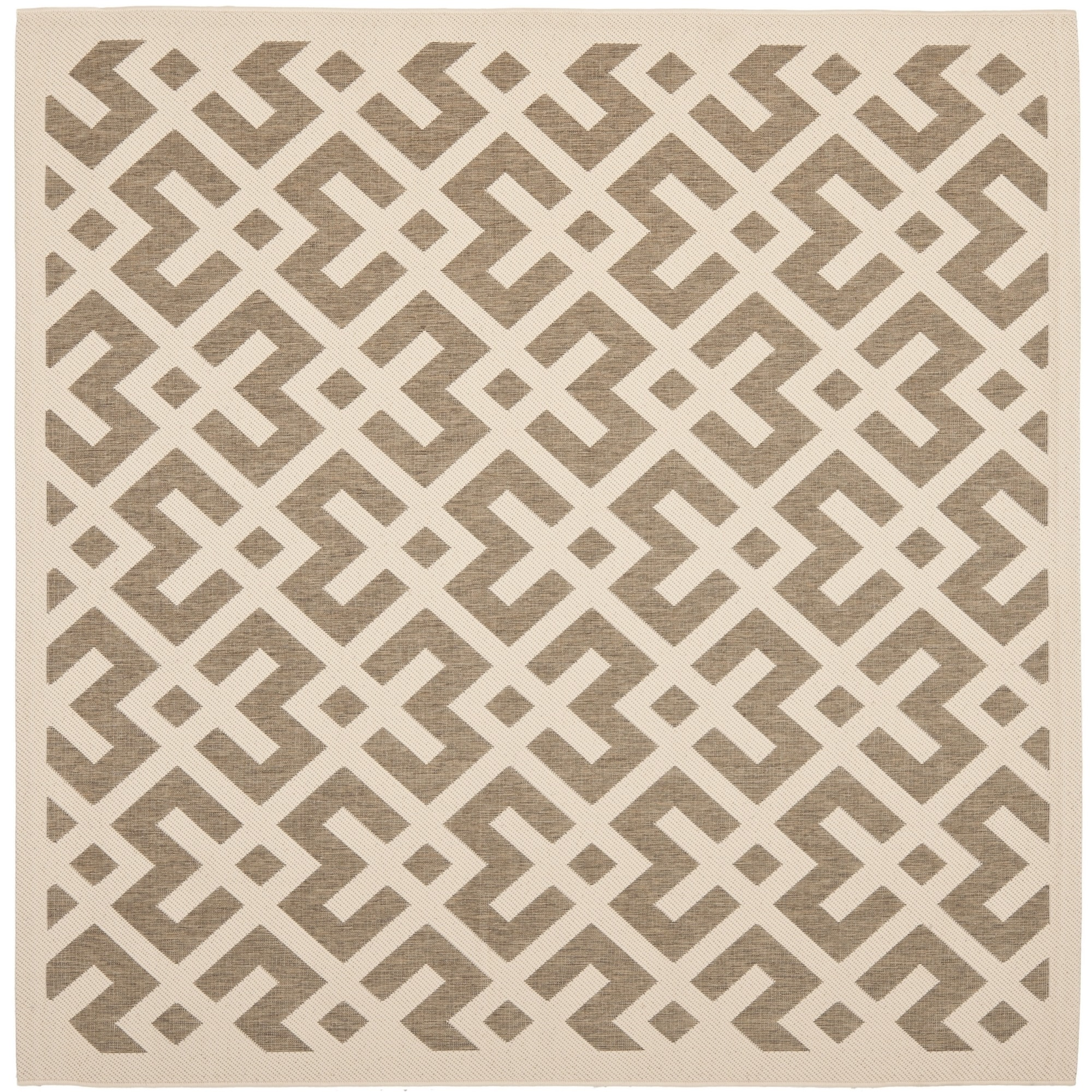 Safavieh Indoor/ Outdoor Courtyard Brown/ Bone Polypropylene Rug (53 Square)