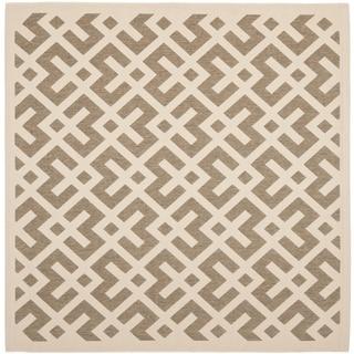 Safavieh Courtyard Contemporary Brown/ Bone Indoor/ Outdoor Rug (5'3 Square)