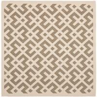 "Safavieh Courtyard Contemporary Brown/ Bone Indoor/ Outdoor Rug - 5'3"" x 5'3"" square"
