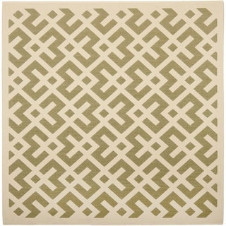 Safavieh Courtyard Contemporary Green/ Bone Indoor/ Outdoor Rug (5'3 Square)