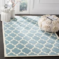 Safavieh Handmade Moroccan Chatham Blue/ Ivory Wool Area Rug - 10' x 14'