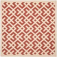 "Safavieh Courtyard Contemporary Red/ Bone Indoor/ Outdoor Rug - 5'3"" x 5'3"" square"