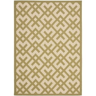 Safavieh Courtyard Contemporary Beige/ Green Indoor/ Outdoor Rug (9' x 12')