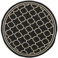 Safavieh Indoor/ Outdoor Courtyard Black/ Beige Rug - 4' Round