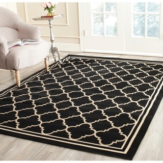 Safavieh Indoor/ Outdoor Courtyard Bordered Black/ Beige Rug (4' Square)