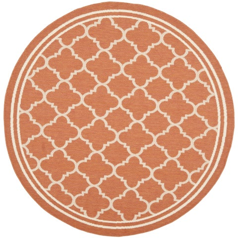 Safavieh Courtyard Kailani Terracotta/ Bone Indoor/ Outdoor Rug - 4' x 4' Round