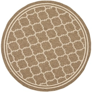 Safavieh Indoor Outdoor Courtyard Brown Bone Rug 4 Round