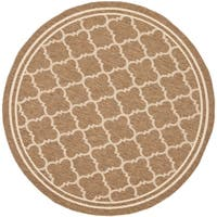 Safavieh Indoor/ Outdoor Courtyard Brown/ Bone Rug - 4' x 4' Round