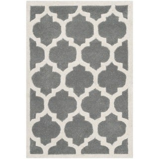 Safavieh Handmade Moroccan Chatham Dark Grey/ Ivory Wool Accent Rug (2'3 x 5')