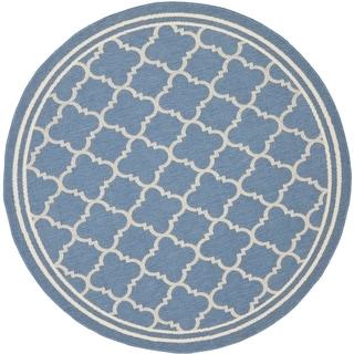 Safavieh Indoor/ Outdoor Courtyard Blue/ Beige Rug (4' Round)