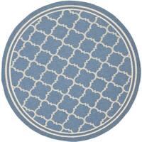 Safavieh Indoor/ Outdoor Courtyard Blue/ Beige Rug (4' Round) - 4' x 4'