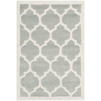 Safavieh Handmade Moroccan Chatham Collection Gray/ Ivory Wool Rug - 2'3' x 5'