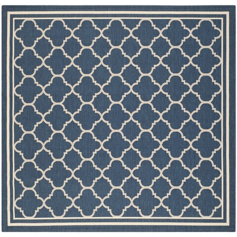Safavieh Courtyard Kailani Navy / Beige Indoor/ Outdoor Rug - 4' x 4' Square