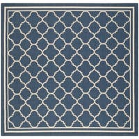 Safavieh Indoor/ Outdoor Courtyard Border Navy/ Beige Rug - 4' x 4' Square