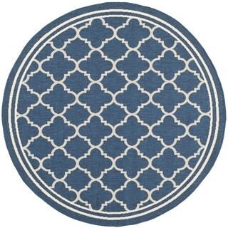 """Safavieh Indoor/ Outdoor Courtyard Trellis Pattern Border Navy/ Beige Rug (7'10"""" Round)"""