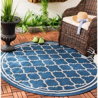 Safavieh Indoor/ Outdoor Courtyard Trellis Pattern Border Navy/ Beige Rug - 7'10 Round