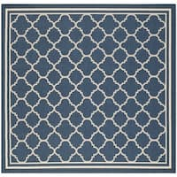 Easy-to-maintain Safavieh Indoor/ Outdoor Courtyard Navy/ Beige Rug - 7'10 Square