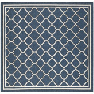 Easy-to-maintain Safavieh Indoor/ Outdoor Courtyard Navy/ Beige Rug (7'10 Square)