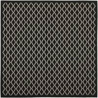 "Safavieh Indoor/ Outdoor Courtyard Contemporary Black/ Beige Rug - 5'3"" x 5'3"" square"