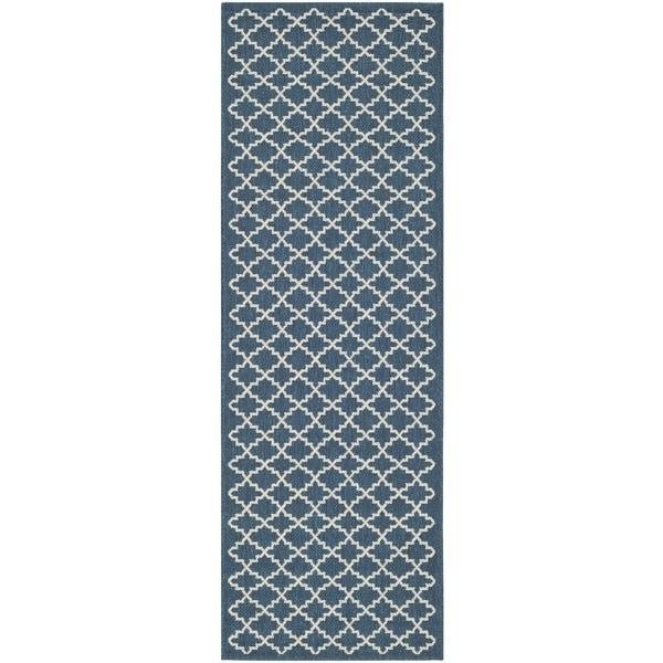 Safavieh Indoor/ Outdoor Courtyard Navy/ Beige Rug - 2'3 x 12'