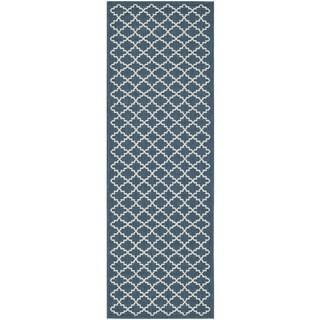 Contemporary Safavieh Indoor/ Outdoor Courtyard Navy/ Beige Rug (2'3 x 14')