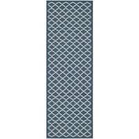 Safavieh Indoor/ Outdoor Courtyard Navy/ Beige Rug - 2'3 x 16'