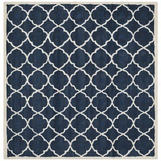 Safavieh Handmade Moroccan Chatham Trellis-pattern Blue/ Ivory Wool Rug (5' Square)