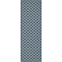 Safavieh Indoor/ Outdoor Courtyard Navy/ Beige Rug - 2'3 x 18'