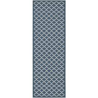 Safavieh Indoor/ Outdoor Courtyard Navy/ Beige Rug (2'3 x 20')