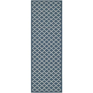 Safavieh Indoor/ Outdoor Courtyard Navy/ Beige Runner Rug (2'3 x 8')