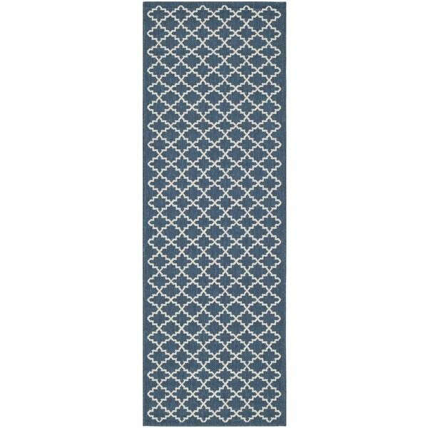 Safavieh Indoor/ Outdoor Courtyard Navy/ Beige Runner Rug (2'3 x 8')
