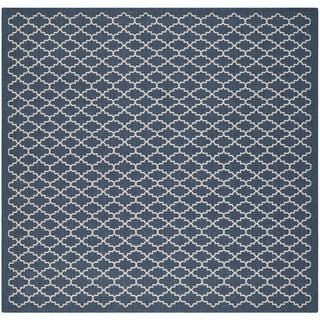Safavieh Indoor/ Outdoor Courtyard Navy/ Beige Polypropylene Rug (4' Square)