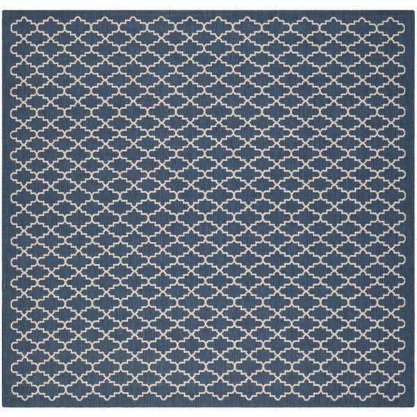 Safavieh Indoor/ Outdoor Courtyard Navy/ Beige Polypropylene Rug (7'10 Square)