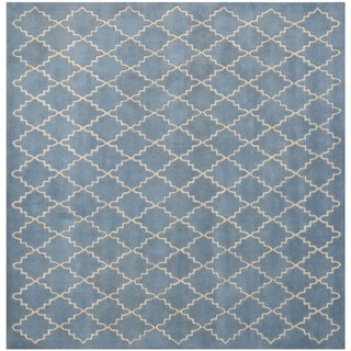 Safavieh Handmade Moroccan Chatham Blue Grey Wool Rug (5' Square)