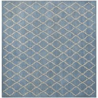 Safavieh Handmade Moroccan Chatham Blue Grey Wool Rug - 5' x 5'