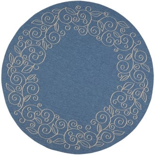 Safavieh Courtyard Scroll Border Blue/ Beige Indoor/ Outdoor Rug (7'10 Round)