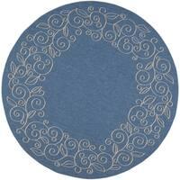 Safavieh Courtyard Scroll Border Blue/ Beige Indoor/ Outdoor Rug - 7'10 Round