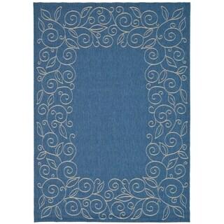 Safavieh Courtyard Scroll Border Blue/ Beige Indoor/ Outdoor Rug (9' x 12')