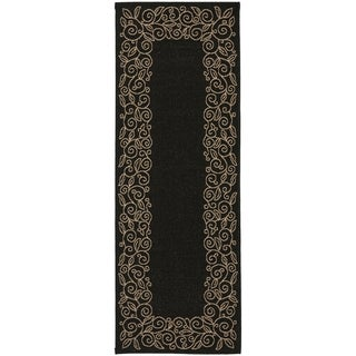 Safavieh Courtyard Scroll Border Black/ Beige Indoor/ Outdoor Rug (2'7 x 8'2)