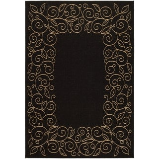 Safavieh Courtyard Scroll Border Black/ Beige Indoor/ Outdoor Rug (9' x 12')
