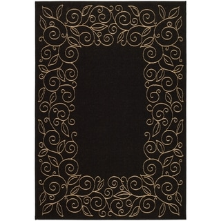 Safavieh Indoor/ Outdoor Courtyard Scroll Pattern Black/ Beige Rug (9' x 12')
