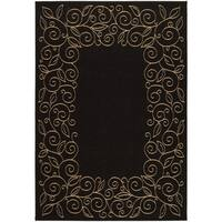 Safavieh Courtyard Scroll Border Black/ Beige Indoor/ Outdoor Rug - 9' x 12'