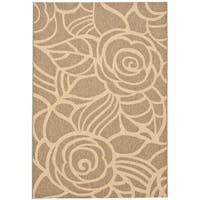 Safavieh Courtyard Roses Coffee/ Sand Indoor/ Outdoor Rug - 9' x 12'